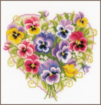 Vervaco - COUNTED CROSS STITCH KIT PANSIES IN HEART SHAPE