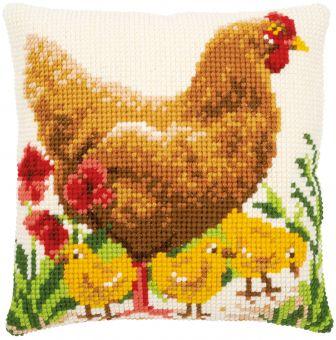 Vervaco Kreuzstichkissen - Huhn mit Küken