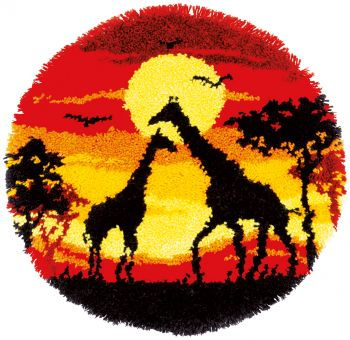 Vervaco Knüpfpackung - Giraffe im Sonnenuntergang