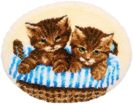 Vervaco Knüpfpackung - Kätzchen im Korb
