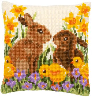 Vervaco - CROSS STITCH CUSHION KIT RABBITS WITH CHICKS