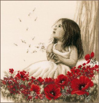 Vervaco - COUNTED CROSS STITCH KIT GIRL IN A POPPY FIELD
