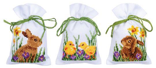 Vervaco Kräutersäckchen - Tütchenpackung Kaninchen mit Küken 3er Set