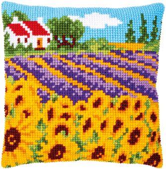 Vervaco Kreuzstichkissen - SonnenblumenfeldLandschaft