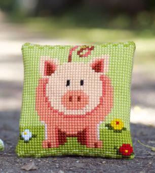 Vervaco Kreuzstichkissen - Kleines Glücksschweinchen