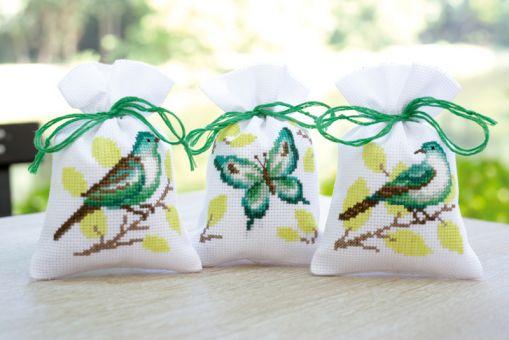Kräutersäckchen - Tütchen Vögel & Schmetterling in Grün 3 er Set