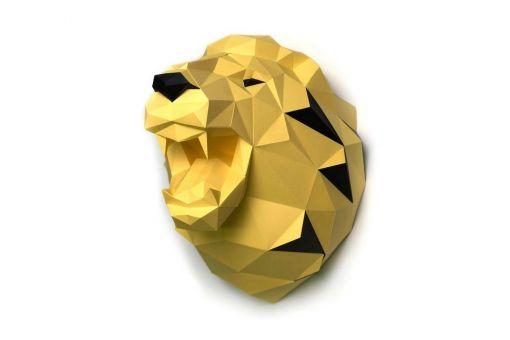 Wizardi 3D Papercraft Bastelpackung - LION YELLOW