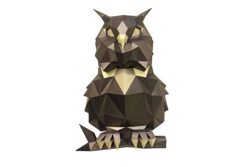 Wizardi 3D Papercraft Bastelpackung - OWL BRONZE