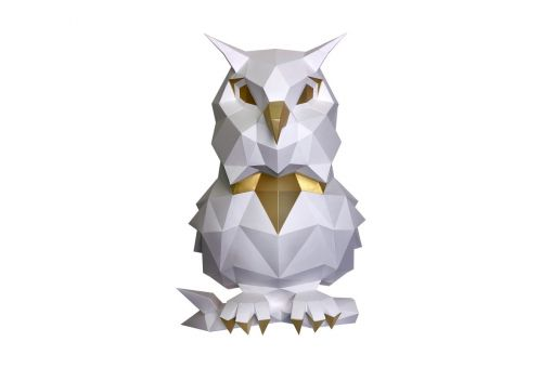 Wizardi 3D Papercraft Bastelpackung - OWL WHITE