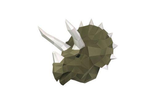 Wizardi 3D Papercraft Bastelpackung - DINOSAUR TOPS WASABI