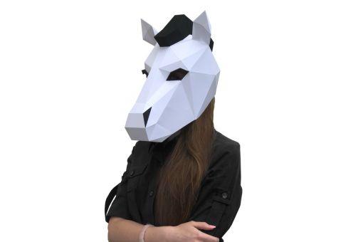 Wizardi 3D Papercraft Bastelpackung - HORSE NEONA MASK