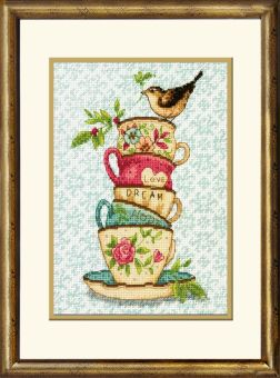 Dimensions Crafts Gold Petite - Stacked Tea Cups