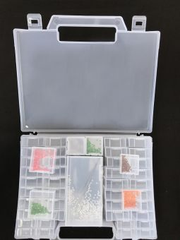 Clear acrylic storagebox with 52 boxes.