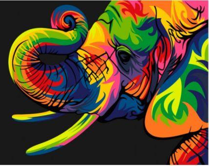 Paint by Numbers kit - RAINBOW ELEPHANT
