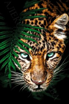 Tokareva bead embroidery - Jaguar in Lauerstellung