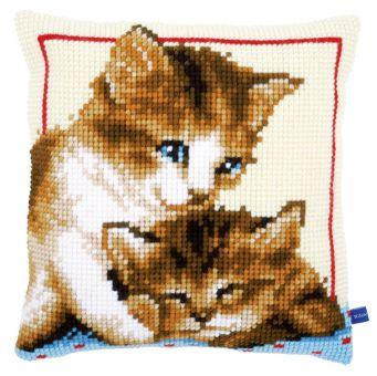 Vervaco Kreuzstichkissen - Spielende Katzen