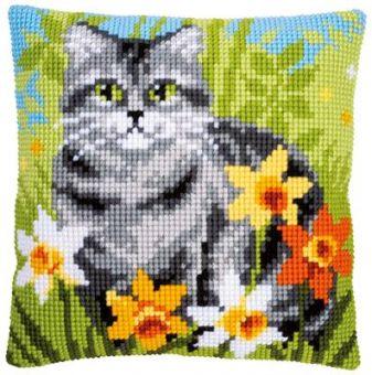 Vervaco Kreuzstichkissen - Katze im Gras