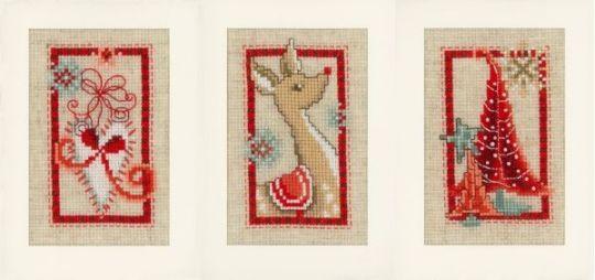 Vervaco - Winterliche Grußkarten 3er Set