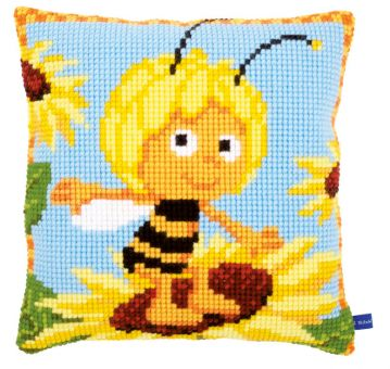 Vervaco Kreuzstichkissen - Biene Maja auf der Sonnenblume
