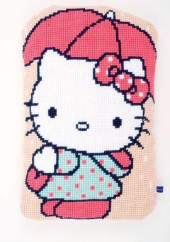 Vervaco Kreuzstichkissen - Hello Kitty mit Regenschirm