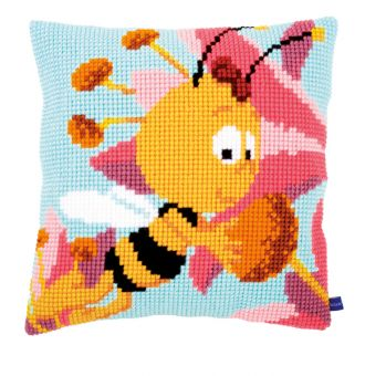 Vervaco Kreuzstichkissen - Biene Maja Willy mit rosafarbener Blume