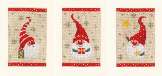 Vervaco - GREETING CARD KIT CHRISTMAS GNOMES SET OF 3