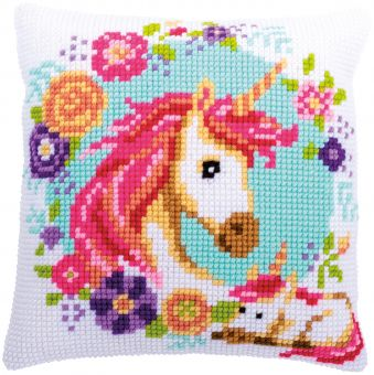 Vervaco Cross Stitch Cushion - CROSS STITCH CUSHION KIT MOTHER AND BABY UNICORN
