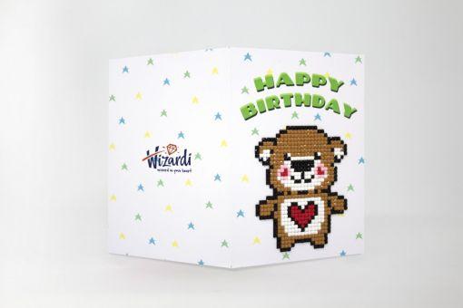 Wizardi Diamond Painting greeting card - HAPPY BIRTHDAY (TEDDY BEAR)