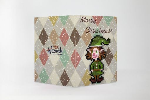 Wizardi Diamond Painting Grußkarte - MERRY CHRISTMAS (ELF)