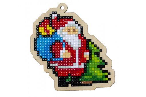 Diamond Painting Wizardi Wood Charms - SANTA WITH GIFTS