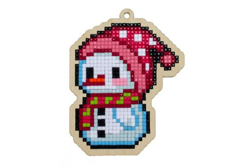 Diamond Painting Wizardi Wood Charms - LITTLE SNOWMAN