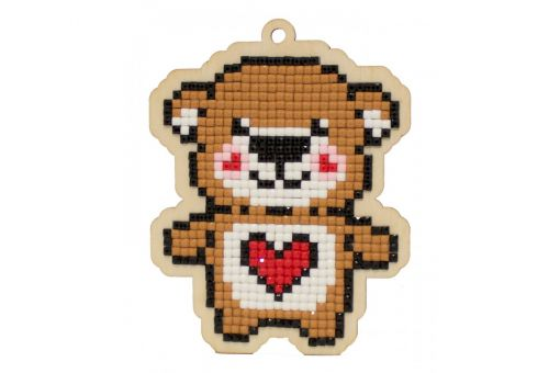 Diamond Painting Wizardi Wood Charms - TEDDY BEAR HEART