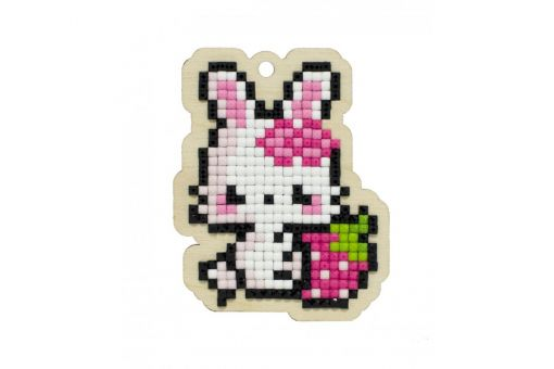 Diamond Painting Wizardi Wood Charms - RABBIT WITH STRAWBERRY