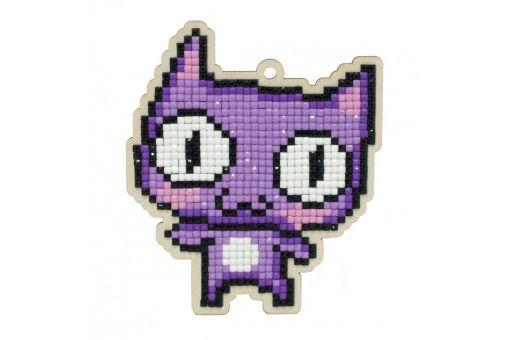 Diamond Painting Wizardi Wood Charms - PURPLE CAT