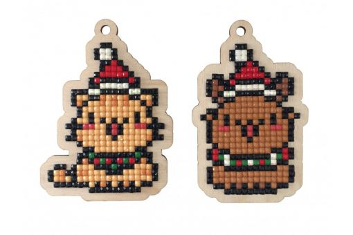 Diamond Painting Wizardi Wood Charms - CHRISTMAS KITTENS