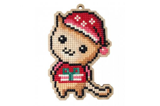 Diamond Painting Wizardi Wood Charms - KITTEN WITH CHRISTMAS HAT