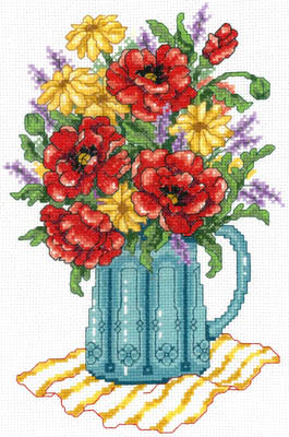 Cross Stitch Corner Imaginating Spring Flowers In Vase