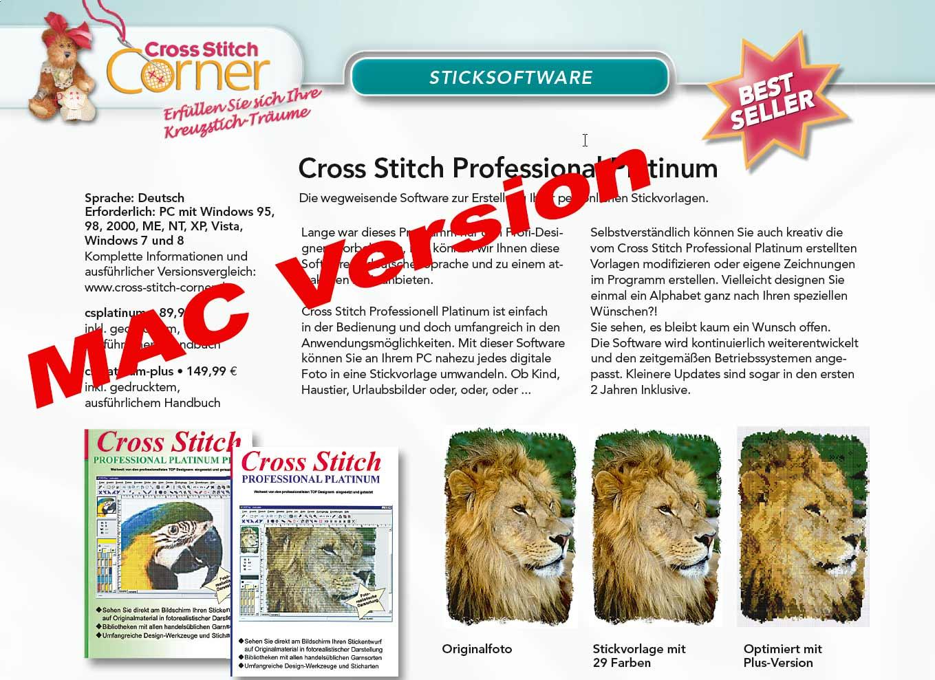 Sticksoftware   Cross Stitch Professional Platinum plus   Englisch  MAC  Version