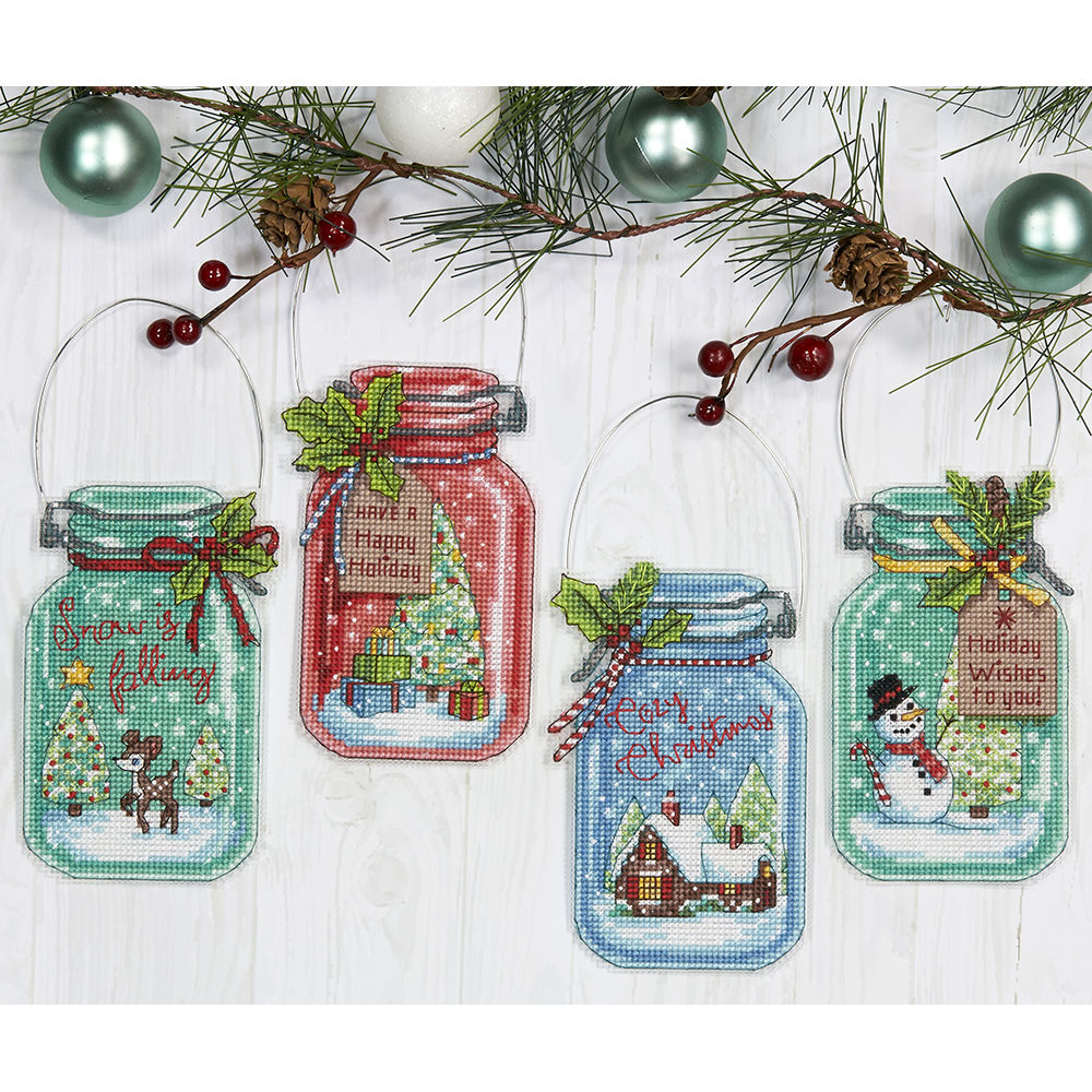 cross stitch corner dimensions crafts christmas jar