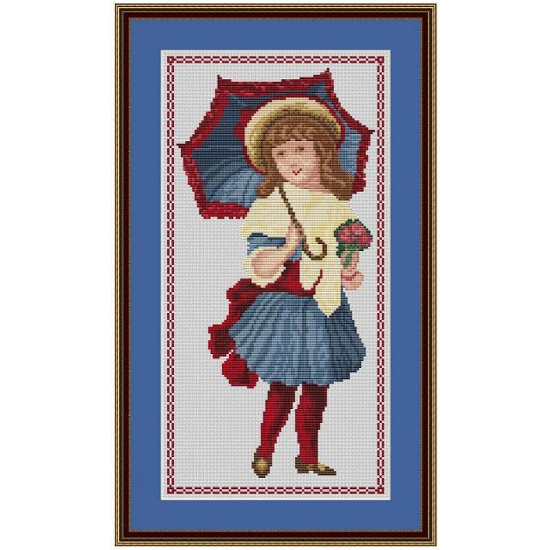 Cross Stitch Corner Kreuzstich Insider Mädchen Mit Schirm