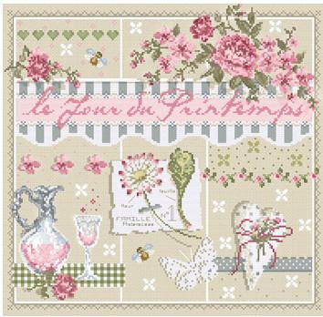 cross stitch corner madame la f e le jour du printemps. Black Bedroom Furniture Sets. Home Design Ideas