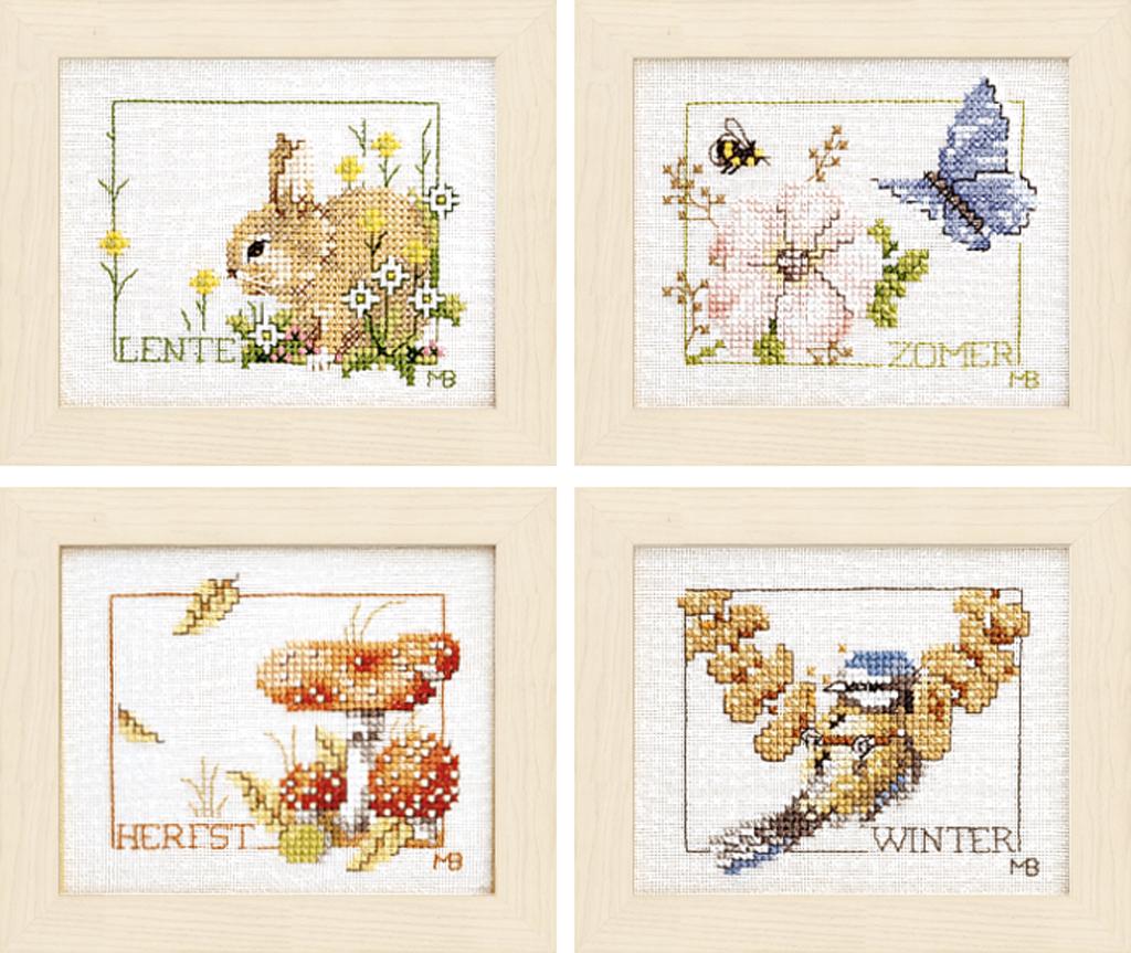 cross stitch corner  lanarte  vier jahreszeiten im 4er set