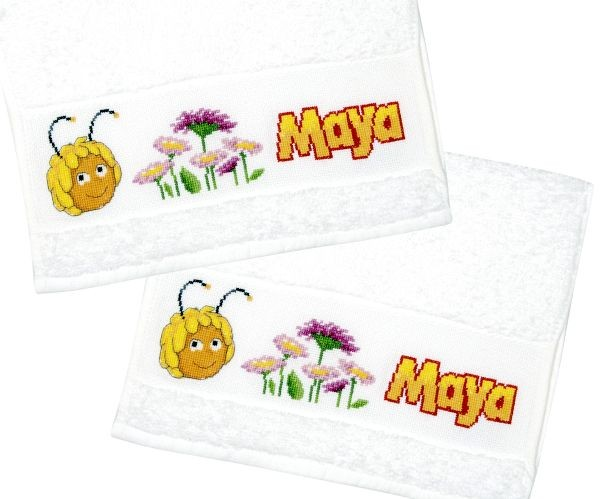 cross stitch corner vervaco babyhandtuch biene maya set aus 2 handt chern. Black Bedroom Furniture Sets. Home Design Ideas
