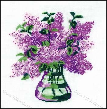 cross stitch corner riolis flieder in vase. Black Bedroom Furniture Sets. Home Design Ideas